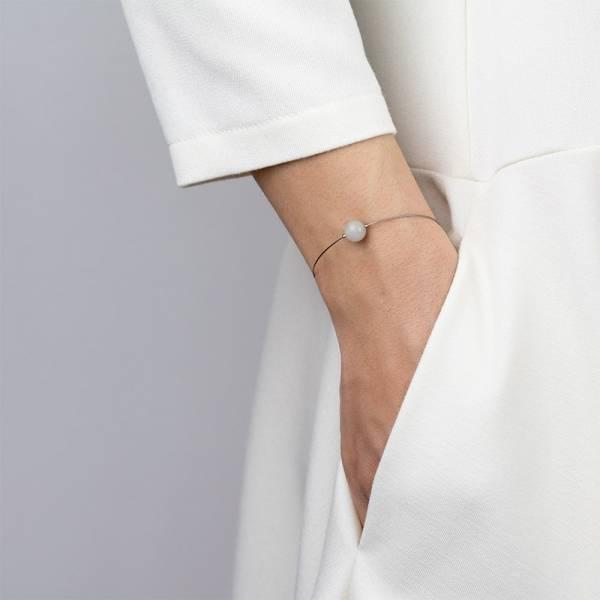 """Moonstone Mini Cosmo"" - Women's Beaded Minimalist Bracelet, Zodiac Bracelet, Stainless Steel"
