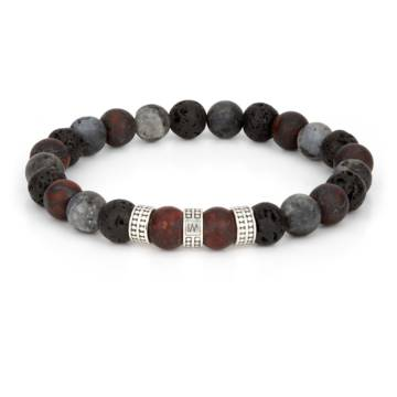 """Ogun Silver Trio"" - Brecciated Jasper, Lava Stone and Black Labradorite Stretch Bracelet, Sterling Silver"