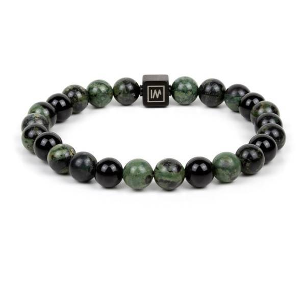 """Ombiasa"" - Kambaba Jasper and Black Agate Beaded Bracelet, Stainless Steel"