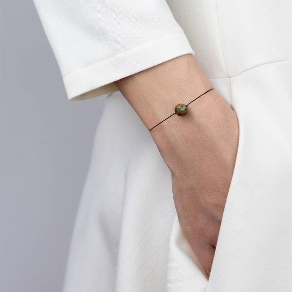 """Rainforest Jasper Mini Cosmo"" - Women's Beaded Minimalist Bracelet, Zodiac Bracelet, Stainless Steel"