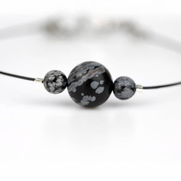 """Snowflake Obsidian Mini Cosmo"" - Women's Beaded Minimalist Bracelet, Zodiac Bracelet, Stainless Steel"