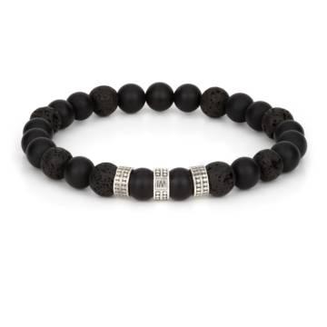 """Volcano Silver Trio"" - Black Agate and Lava Beaded Stretch Bracelet, Sterling Silver"