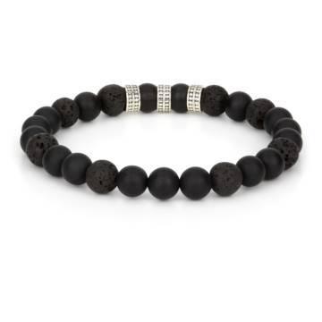 volcano silver trio beaded stretch bracelet 2