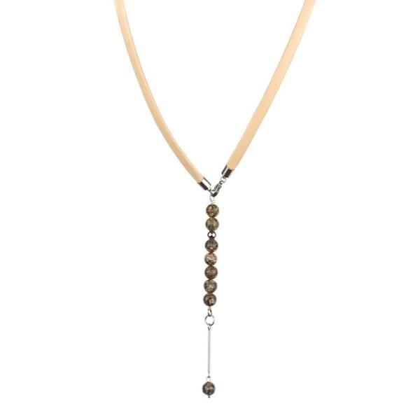 """""""Wild Peace"""" - Leopard Skin Jasper Beaded Leather Wrap Bracelet as Necklace"""